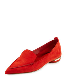 Beya Suede Point-Toe Loafer, Coral
