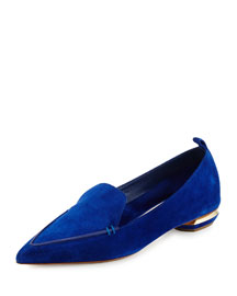 Beya Suede Point-Toe Loafer, Electric Blue