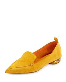 Beya Suede Point-Toe Loafer, Saffron