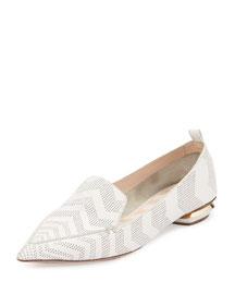 Beya Chevron-Print Leather Loafer, White