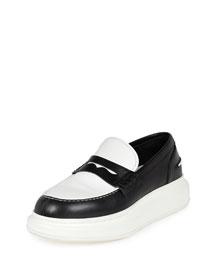 Bicolor Flatform Leather Loafer, Black/White