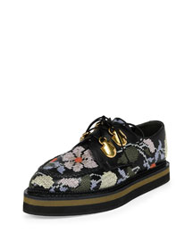 Embroidered Leather Lace-Up Oxford, Black/Multi