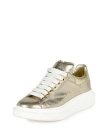 Metallic Leather Low-Top Sneaker, Gold