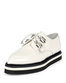 Leather Lace-Up Loafer, Ivory
