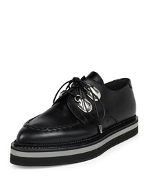 Platform Leather Lace-Up Loafer, Black