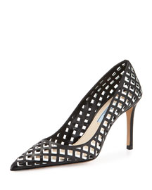 Lattice-Cut Leather Pump, Black