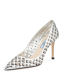 Lattice-Cut Leather Pump, Silver/Black