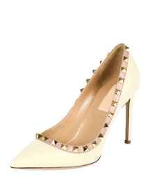 Rockstud Leather Pump, Ivory/Poudre