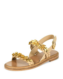 Floral-Embellished Two-Band Flat Sandal, Natural/Golden
