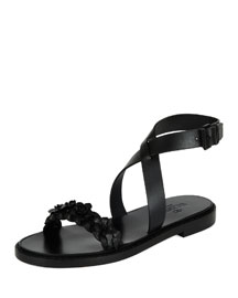 Braided Leather Ankle-Wrap Flat Sandal, Black