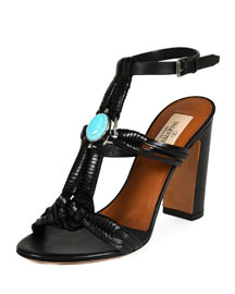 Embellished Woven Leather Sandal, Black/Turquoise