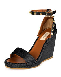 Rockstud Leather Wedge Espadrille Sandal, Black/Light Cuir