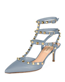 Rockstud Leather 65mm Pump, Gray