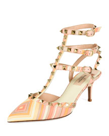 Harlequin-Print Leather Rockstud Pump, Mandarin