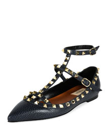 Pebbled Leather Rockstud Cage Ballerina Flat, Deep Denim