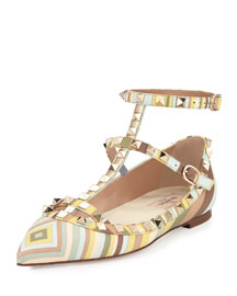 Printed Leather Rockstud Ballerina Flat, Green Tea