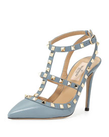 Rockstud Leather 100mm Pump, Gray