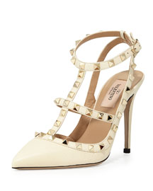 Rockstud Leather 100mm Pump, Ivory