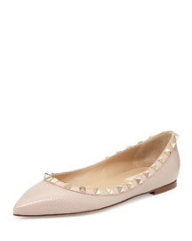 Rockstud Leather Ballerina Flat, Powder