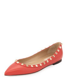Rockstud Leather Ballerina Flat, Deep Coral