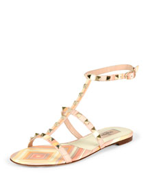 Striped Leather Gladiator Sandal, Mandarin