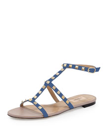 Rockstud Leather Cage Sandal, Indaco