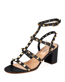 Rockstud Leather City Sandal, Black