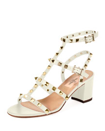 Rockstud Leather City Sandal, Light Ivory
