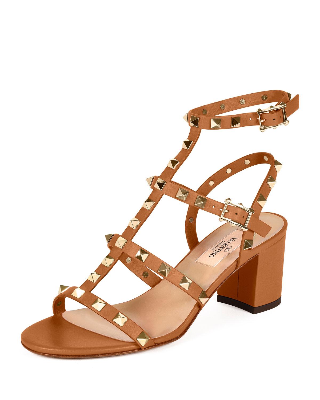 Valentino Rockstud Leather City Sandal, Light Cuir, Women's, Size: 37.5B/7.5B