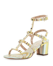 Rockstud Striped Leather City Sandal, Green Tea