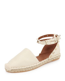 Rockstud Ankle-Wrap Espadrille, Light Ivory