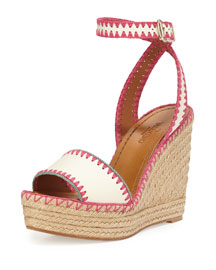 Stitched Leather Wedge Espadrille, Ivory/Fuchsia