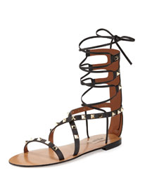 Flat Rockstud Gladiator Sandal, Black (Nero)