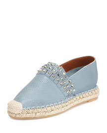 Rockstud Fringed Leather Espadrille, Gray