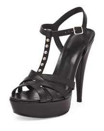 Jodie Studded Leather T-Strap Sandal, Black