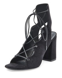 Babies Suede Lace-Up Sandal, Black (Noir)