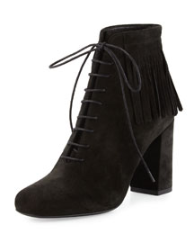 Fringed Suede Lace-Up Ankle Boot, Black
