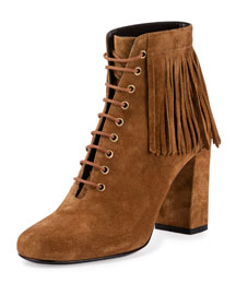 Fringed Suede Lace-Up Ankle Boot, Tan