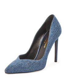 Paris V-Neck Denim Pump, Light Blue