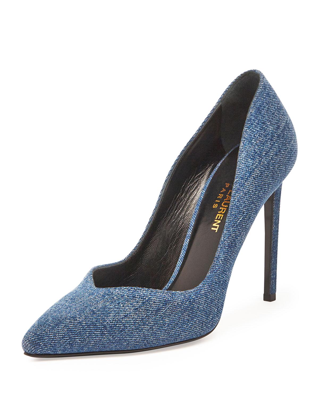 Saint Laurent Paris V-Neck Denim Pump, Light Blue, Women's, Size: 35.5B/5.5B