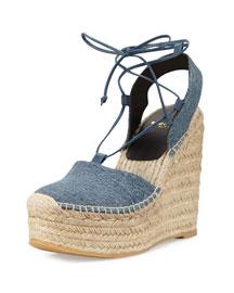 Platform Denim Espadrille Wedge Sandal