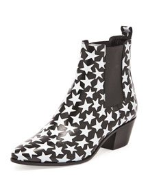 Wyatt Stars Leather Chelsea Boot, Black/White