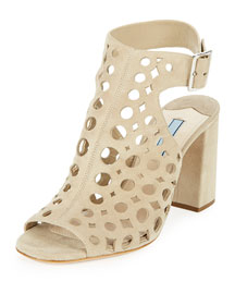 Laser-Cut Suede Sandal, Natural