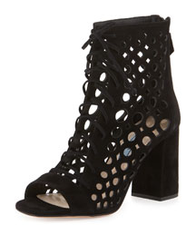 Lattice-Caged Leather Sandal, Black