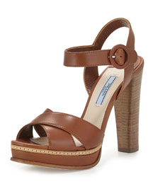 Patent Leather Crisscross Sandal, Brandy