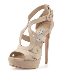 Curvy Suede Platform 135mm Sandal, Natural