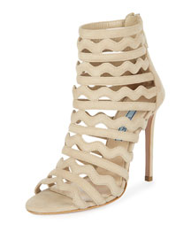Wavy-Strap Suede Sandal, Natural