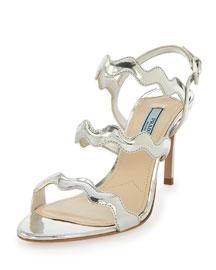 Metallic Wavy-Strap Sandal, Silver