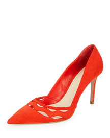 Wavy-Cut Suede Pump, Red