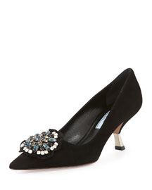 Jeweled-Brooch Suede Pump, Black (Nero)